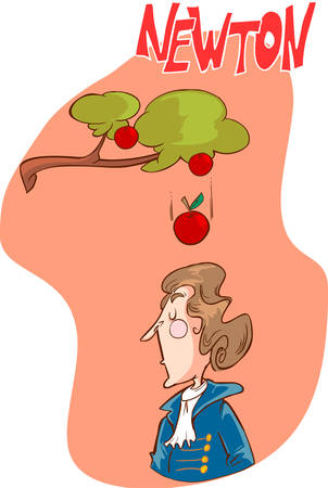 Isaac Newton - Cute Isaac Newton is sitting under an apple tree.