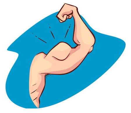 in flexed: Flexing Muscle of Strong ArmBicep