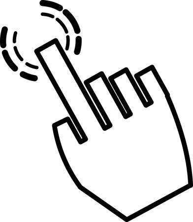 whites: vector illustration of a click hand icon pointer