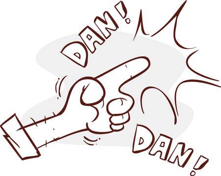 intimidation: Human hand making a gun gesture. Conceptual stylish illustration Illustration