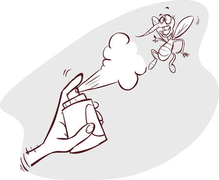 insect repellent: An illustration of a mosquito gets hit spray