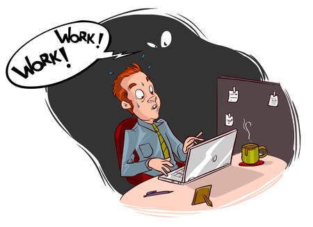 demanding: Vector illustration of a man working in the office