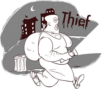 felon: vector illustration of a thief in night city Illustration
