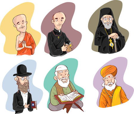 worshiped: People of different religion in traditional clothing. Islam, judaism, buddhism, orthodox, catholic, hinduism illustration