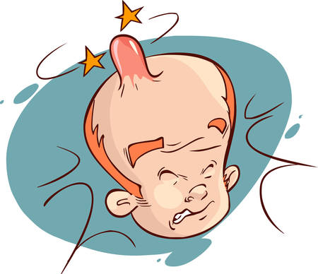 bump: A cartoon man with a painful, swollen bump on his head.