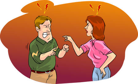husband and wife: vector illustration of a husband and wife arguing Illustration