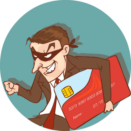 ber: vector illustration of a credit card thief