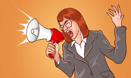 screaming: Business woman with megaphone yelling and screaming Illustration
