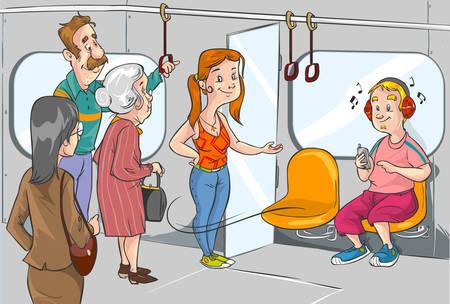 etiquette voyage: donner lieu à la vieille femme dans le métro Illustration