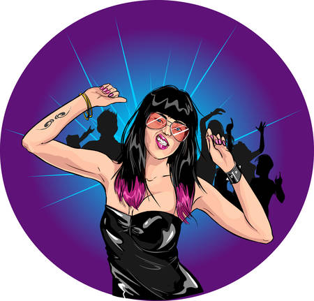 sexy brunette woman: vector illustration of a dancing girls