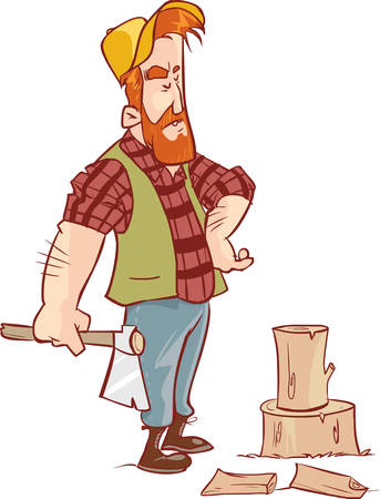 fortunate: vector illustration of a lumberjack in forest