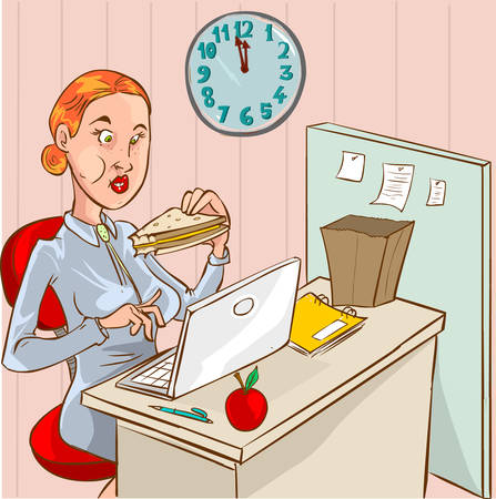 woman eating: vector illustration of a  eating woman in the office Illustration