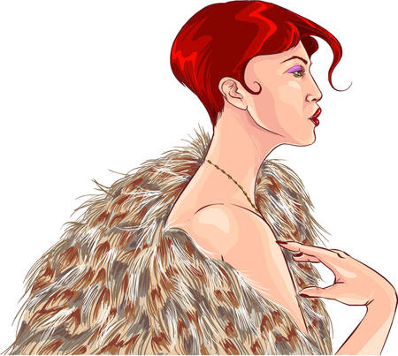 woman in fur coat: Vector illustration of a attractive girl in fur coat Illustration