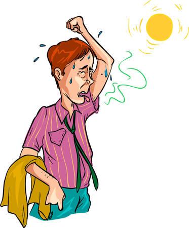 illustration vectorielle d'une sueur sent méchant homme