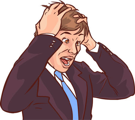 Vektor-Illustration eines verwirrten Geschäftsmann