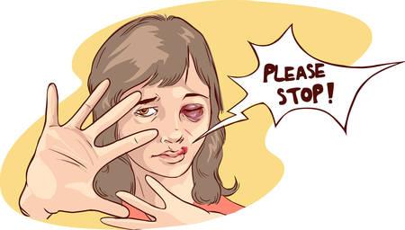ilustración vectorial de una parada de la violencia contra las mujeres Ilustración de vector
