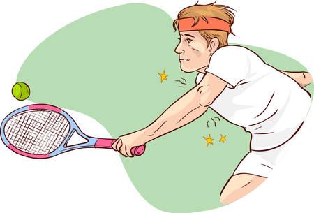 Vektor-Illustration eines Tennisellenbogen Standard-Bild - 52610595