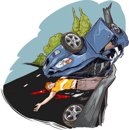 car detail: vector illustration of a road accident
