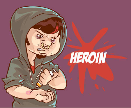 heroin: Cartoon vector illustration of a drug addict man addicted to heroin injecting a syringe