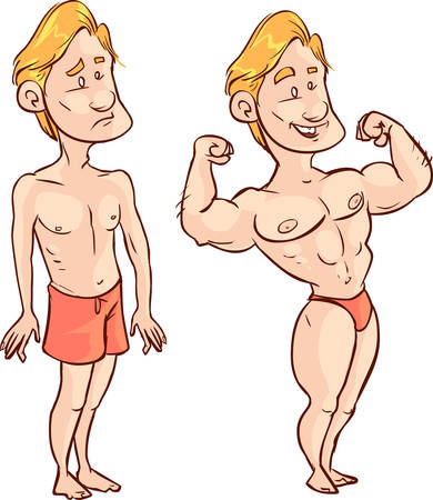 poor man: Vector illustration of a poor man, muscular man drawing