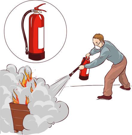 Vector illustratie van een man het blussen van een brand Vector Illustratie