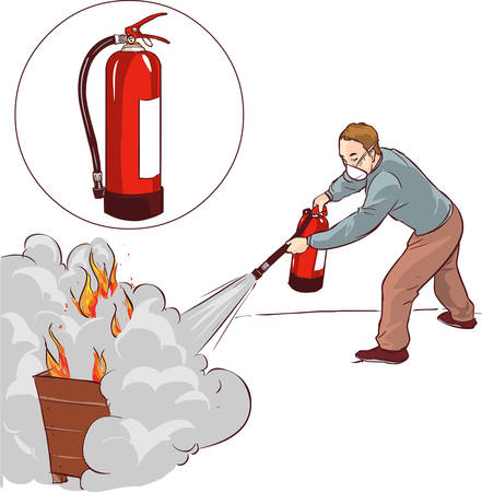 suppression: Vector illustration of a Man putting out a fire