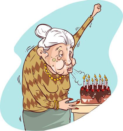 persona mayor: Ilustración del vector de cumpleaños de una mujer de la edad Vectores
