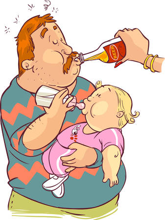 vector illustration of a father feeding the child Illustration