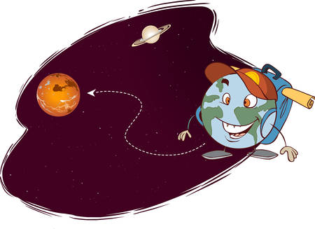 exclude: vector illustration of a different planets trip
