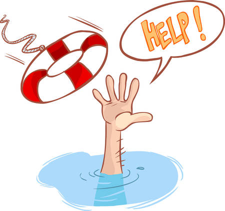 aid: vector illustration of a drowning and lifeline Illustration