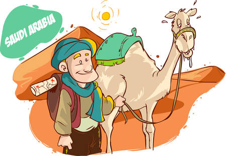 vector illustration of a Tourist and camel in the desert