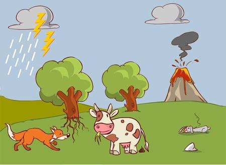 illustration vectorielle d'un cycle de l'azote