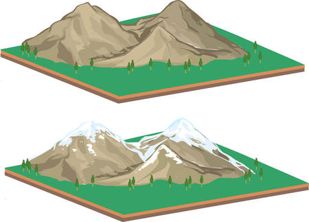 snowcapped mountain: vector illustration of a Isometric Mountain landscape Illustration