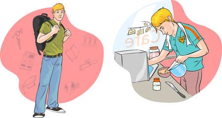 comedor escolar: ilustración vectorial de un joven que trabaja estudiantes