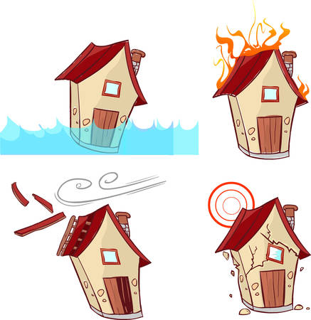 wee: vector illustration of a Natural Disasters (house drawing)