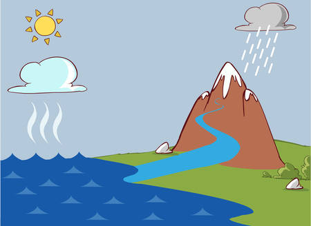condense: vector illustration of a The water cycle