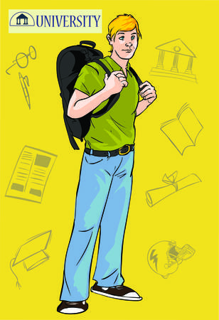vector illustration of a young college student