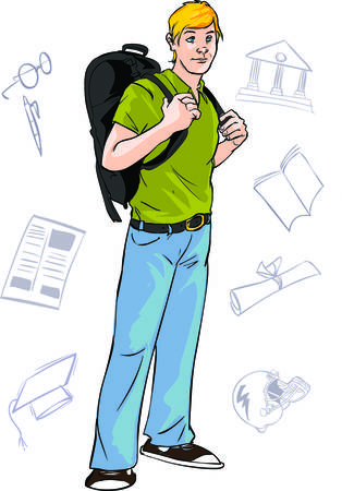 whites: vector illustration of a young college student
