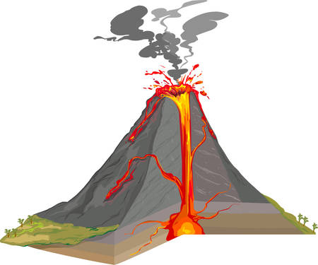 vector illustration of a Cross Section of Volcano Vectores