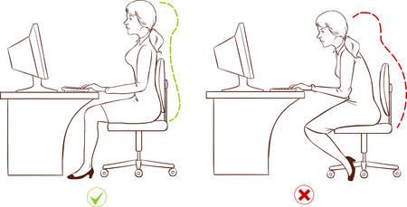 Fille assise à un poste informatique ergonomique. (Noir et blanc) Banque d'images - 52745336