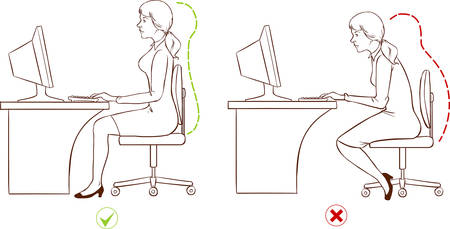 workplace: Girl sitting at an ergonomically correct computer station.(Black and white)