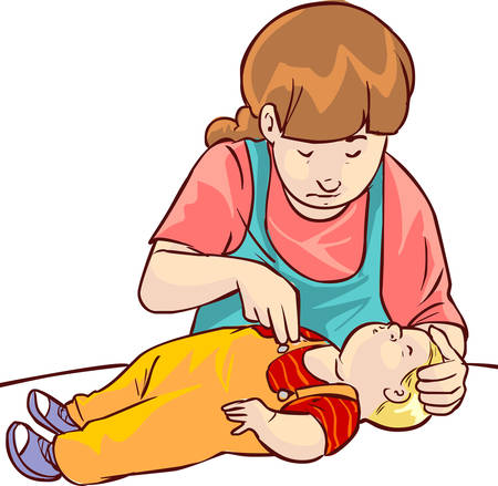 chest compression: Vector illustration of a baby first aid