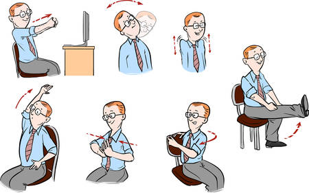 Vector illustration of a Office-exercising men Illustration