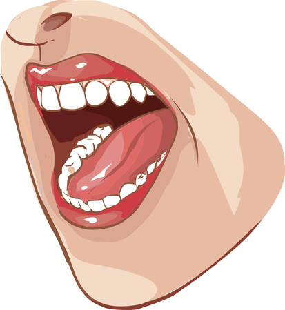 hollow body: Vector illustration of open mouth
