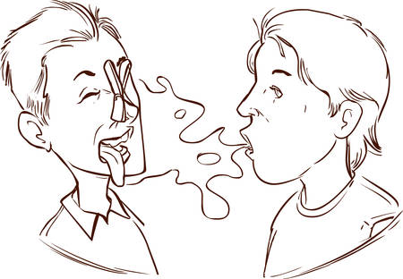 exhalation: Vector illustration of a  medical halitosis Illustration
