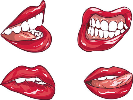 plump lips: Vector illustration of a Set of six red sexy female lips