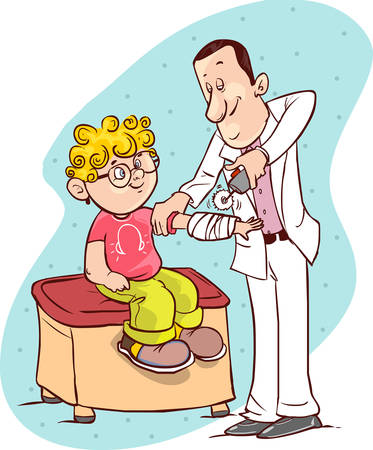be ill: Vector illustration of a  medical plaster removed children Illustration
