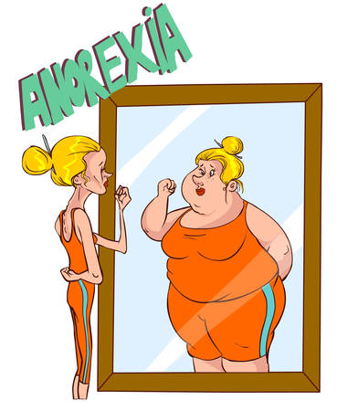 body image: Vector illustration of a Anorexia - Distorted Body Image