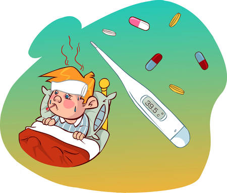 party system: Vector illustration of a child having fever