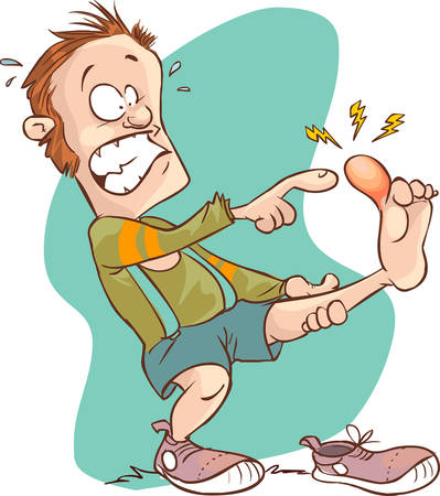 Vector illustration of a cartoon Man injured foot
